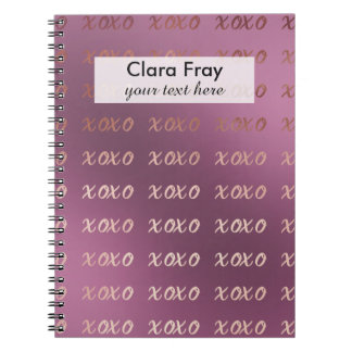 rose gold foil typography hugs and kisses xoxo spiral note book