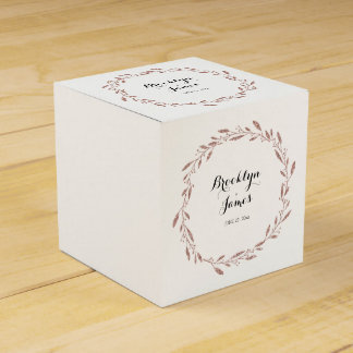 Rose Gold Foil Wedding Favor Boxes Floral Wreath