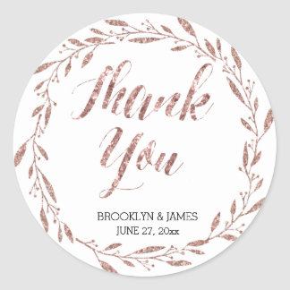Rose Gold Foil Wedding Stickers Round Wreath