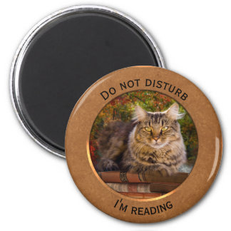 Rose Gold Funny Book Lover Cat Photo Magnet