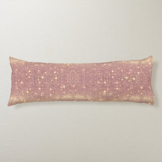 Rose Gold Galaxy Faux Space Sparkle Body Pillow