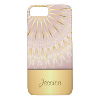 Rose Gold Geometric Bling Monogram iPhone 8/7 Case