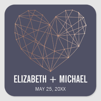 Rose Gold Geometric heart personalised favor label