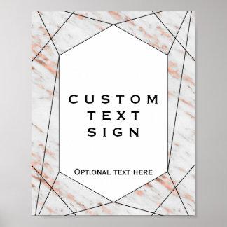 Rose Gold Geometric Marble Custom Sign