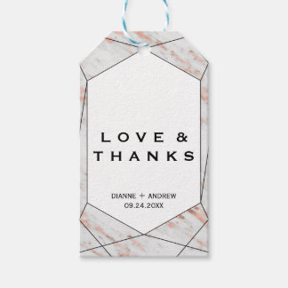 Rose Gold Geometric Marble Love and Thanks Gift Tags