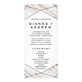 Rose Gold Geometric Marble Wedding Program