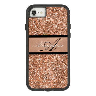 Rose Gold Glam and Black Sparkle Personalized Case-Mate Tough Extreme iPhone 8/7 Case