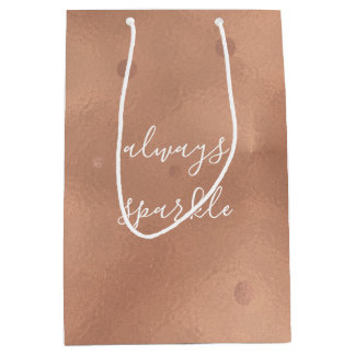 Rose Gold Glam Sparkle Medium Gift Bag