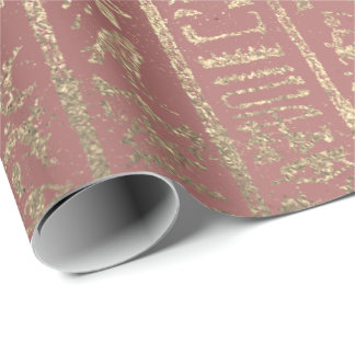 Rose Gold Glass Egyptian Script Hieroglyphs Wrapping Paper
