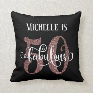 Rose Gold Glitter 50 & Fabulous Birthday on Black Throw Pillow