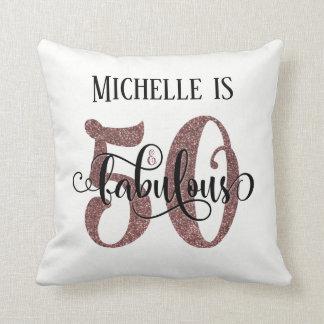 Rose Gold Glitter 50 & Fabulous Birthday on White Throw Pillow