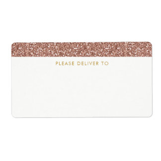 Rose Gold Glitter Address Labels