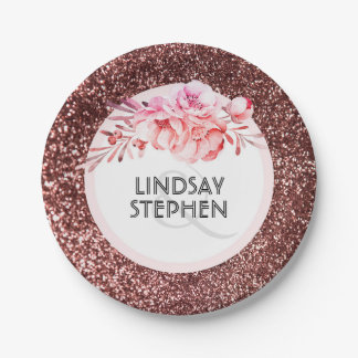 Rose Gold Glitter and Vintage Flowers Wedding 7 Inch Paper Plate