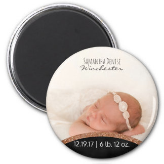 Rose Gold Glitter | Baby Photo Birth Announcement Magnet