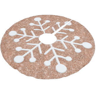 Rose gold glitter background christmas tree skirt