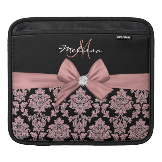 Rose gold glitter Black Damask, Bow, Diamond iPad Sleeve