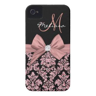 Rose gold glitter Black Damask, Bow, Diamond iPhone 4 Case-Mate Case