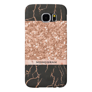 Rose-Gold Glitter & Black Marble Pattern Samsung Galaxy S6 Cases
