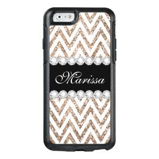 Rose Gold Glitter Black White Chevron OtterBox iPhone 6/6s Case