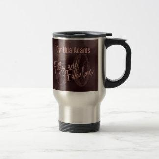 Rose Gold Glitter & Bokeh 50 & Fabulous Typography Travel Mug