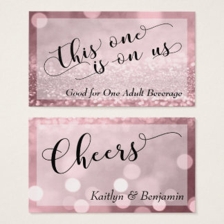 Rose Gold Glitter Bokeh Typography Drink Ticket 2