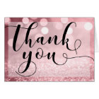 Rose Gold Glitter Bokeh & Typography Thank You Card