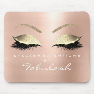 Rose Gold Glitter Branding Beauty Lashes Pink Mouse Pad