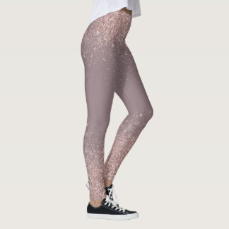 Rose Gold Glitter Confetti Dust Leggings