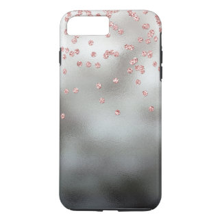 Rose gold glitter confetti on silver iPhone 8 plus/7 plus case