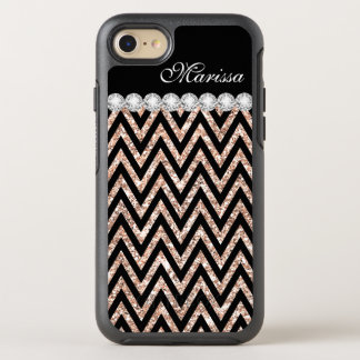 Rose Gold Glitter Cool Black Chevron Stripe OtterBox Symmetry iPhone 8/7 Case