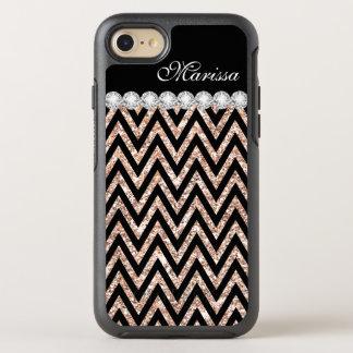 Rose Gold Glitter Cool Black Chevron Stripes OtterBox Symmetry iPhone 7 Case