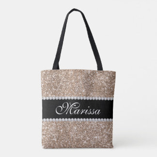 Rose Gold Glitter Cool Black Stylish Tote Bag