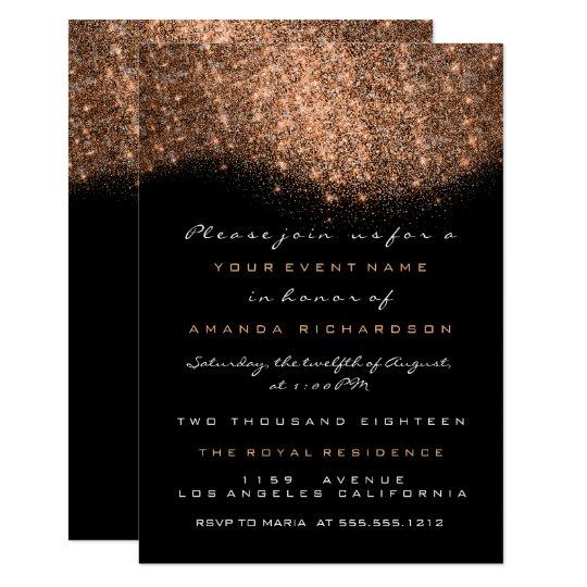 Rose Gold Glitter Copper Black Formal Invitation