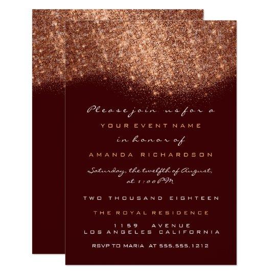 Rose Gold Glitter Copper Burgund Formal Invitation