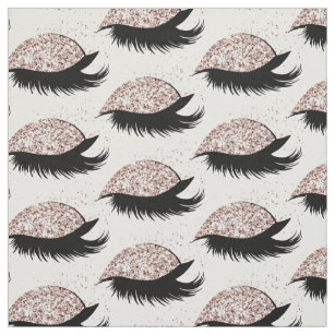 Rose Gold Glitter Eyelashes Salon Pattern Fabric