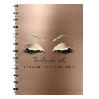 Rose Gold Glitter Eyes Makeup Beauty Skinny Coffee Notebook