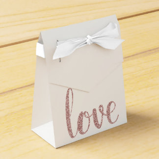 Rose gold glitter favor boxes