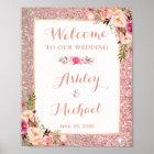 Rose Gold Glitter Floral Wedding Welcome Sign