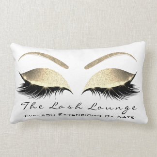 Rose Gold Glitter Glam Makeup Lashes Beauty Lumbar Pillow