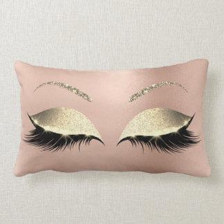 Rose Gold Glitter Glam Makeup Lashes Sleep Lumbar Pillow