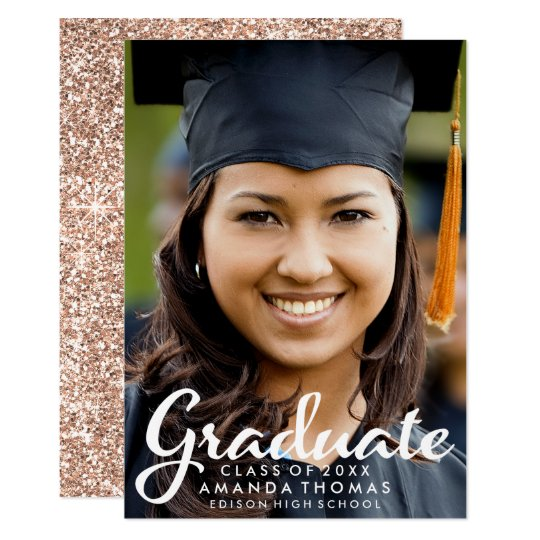 Rose Gold Glitter Graduation Photo Announcement