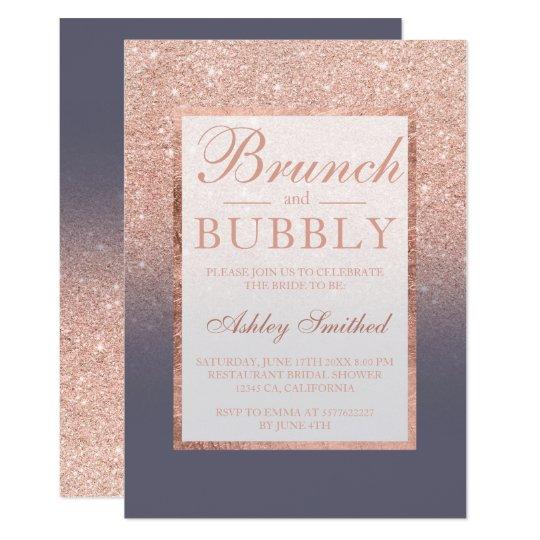 Rose gold glitter grey brunch bubbly bridal shower card