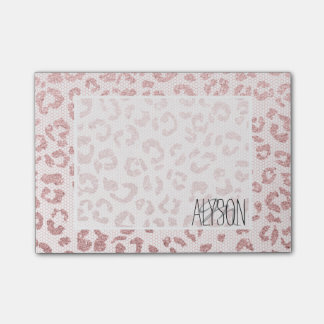 Rose gold glitter leopard pattern pink lace post-it® notes
