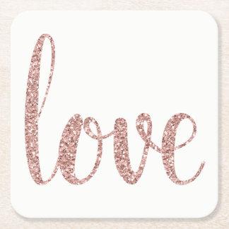 Rose gold glitter love coasters, square square paper coaster