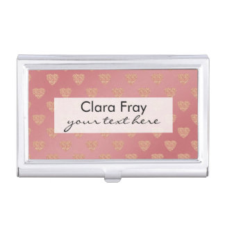 rose gold glitter love hearts polka dots pattern business card case