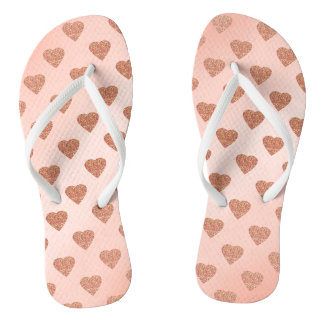 rose gold glitter love hearts polka dots pattern flip flops
