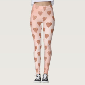 rose gold glitter love hearts polka dots pattern leggings