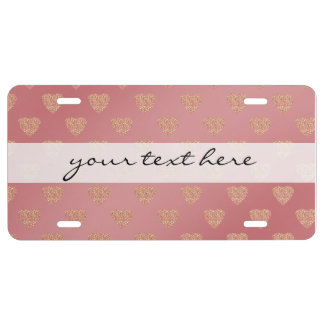 rose gold glitter love hearts polka dots pattern license plate