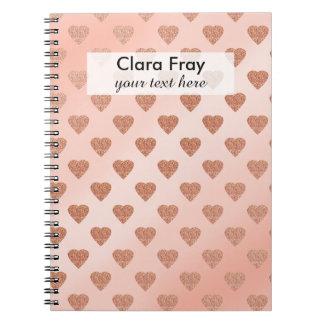 rose gold glitter love hearts polka dots pattern note books