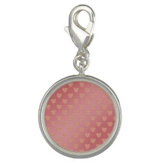 rose gold glitter love hearts polka dots pattern photo charms